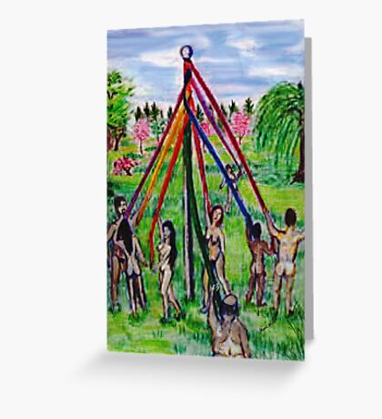 Beltane's May Pole Greeting Card