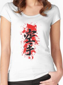 Karate Kanji with red brush splatter Women's Fitted Scoop T-Shirt