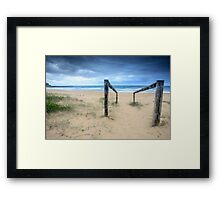 Old timber log and wire path to beach Framed Print