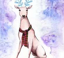 Surreal Winter Deer Watercolor and Ballpoint Pen Painting by Anila Tac