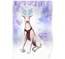 Surreal Winter Deer Watercolor and Ballpoint Pen Painting Poster