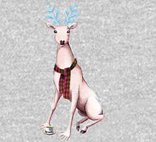Surreal Winter Deer Watercolor and Ballpoint Pen Painting Long Sleeve T-Shirt