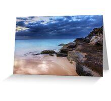 Stunning Tamarama beach and coastal rocks before sunrise Greeting Card