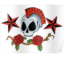 Oldschool Tattoo Skull and Roses Poster