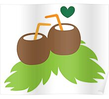 cute coconuts tropical drinks Poster