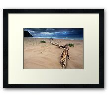 Storm clouds building up over the sea at Avoca Framed Print