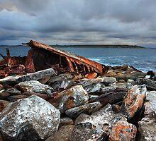 Storm over SS Minmi shipwreck at Sydney seascape landscape by Leah-Anne Thompson