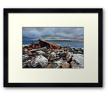 Storm over SS Minmi shipwreck at Sydney seascape landscape Framed Print