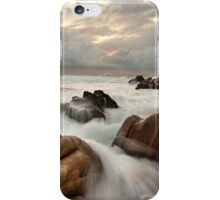 Surging ocean over rocks at Forresters Beach Australia seascape landscape iPhone Case/Skin