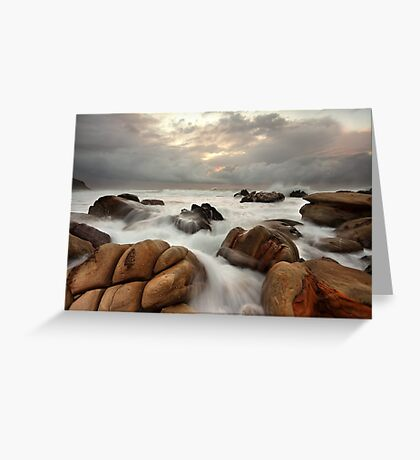 Surging ocean over rocks at Forresters Beach Australia seascape landscape Greeting Card