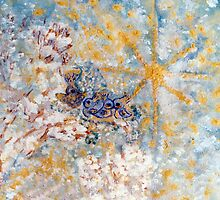 Bluebirds in the Snow Designer Art by Marie-Jose Pappas by innocentorigina