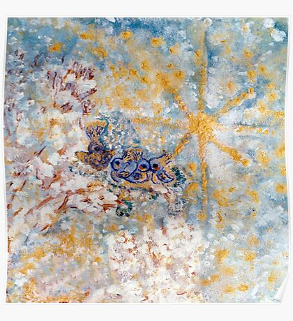 Bluebirds in the Snow Designer Art by Marie-Jose Pappas Poster