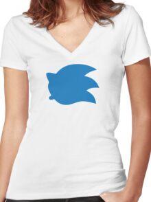 Sonic the Hedgehog Symbol - Super Smash Bros. (color) Women's Fitted V-Neck T-Shirt