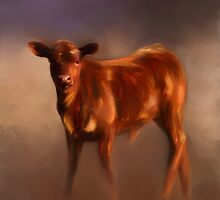 Red Calf on a Misty Morning by Michelle Wrighton