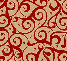 Vintage Red and Tan Pattern by solnoirstudios