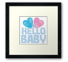 HELLO BABY newborn child greeting blue Framed Print