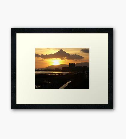 sunset over the castle ... Framed Print