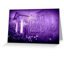 Vera's Hideaway, purple Greeting Card