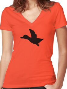 Duck Hunt Symbol - Super Smash Bros. (black) Women's Fitted V-Neck T-Shirt