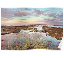 Pink sunset at Vincentia NSW Australia seascape landscape Poster