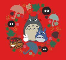 My Neighbor Totoro Wreath - Anime, Catbus, Soot Sprite, Blue Totoro, White Totoro, Mustard, Ochre, Umbrella, Manga, Hayao Miyazaki, Studio Ghibl One Piece - Short Sleeve