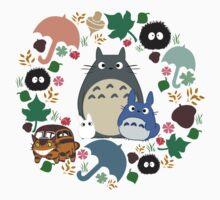 My Neighbor Totoro Wreath - Anime, Catbus, Soot Sprite, Blue Totoro, White Totoro, Mustard, Ochre, Umbrella, Manga, Hayao Miyazaki, Studio Ghibl Kids Tee