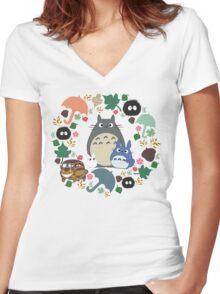 My Neighbor Totoro Wreath - Anime, Catbus, Soot Sprite, Blue Totoro, White Totoro, Mustard, Ochre, Umbrella, Manga, Hayao Miyazaki, Studio Ghibl Women's Fitted V-Neck T-Shirt