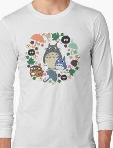 My Neighbor Totoro Wreath - Anime, Catbus, Soot Sprite, Blue Totoro, White Totoro, Mustard, Ochre, Umbrella, Manga, Hayao Miyazaki, Studio Ghibl Long Sleeve T-Shirt