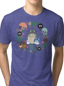 My Neighbor Totoro Wreath - Anime, Catbus, Soot Sprite, Blue Totoro, White Totoro, Mustard, Ochre, Umbrella, Manga, Hayao Miyazaki, Studio Ghibl Tri-blend T-Shirt