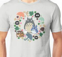 My Neighbor Totoro Wreath - Anime, Catbus, Soot Sprite, Blue Totoro, White Totoro, Mustard, Ochre, Umbrella, Manga, Hayao Miyazaki, Studio Ghibl Unisex T-Shirt