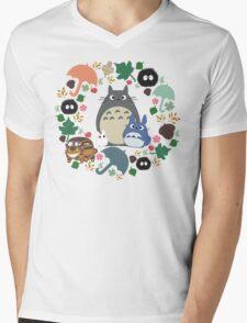 My Neighbor Totoro Wreath - Anime, Catbus, Soot Sprite, Blue Totoro, White Totoro, Mustard, Ochre, Umbrella, Manga, Hayao Miyazaki, Studio Ghibl Mens V-Neck T-Shirt