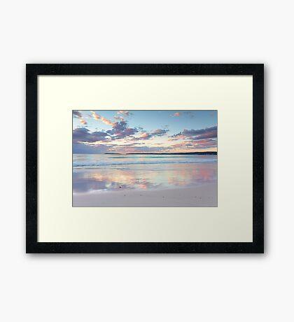 Pretty pastel dawn sunrise at Hyams Beach Australia seascape Framed Print