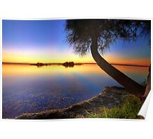 Sunbeams reflected in the water at sunset  seascape Poster