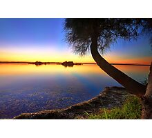 Sunbeams reflected in the water at sunset  seascape Photographic Print
