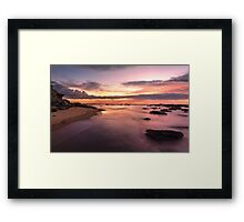 Magnificent sunrise high tide at Bateau Bay rockshelf seascape Framed Print