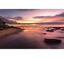 Magnificent sunrise high tide at Bateau Bay rockshelf seascape Photographic Print