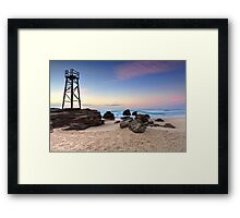 Shark tower at Redhead beach Australia sunrise seascape Framed Print