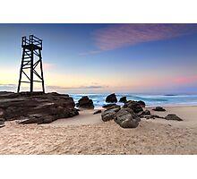 Shark tower at Redhead beach Australia sunrise seascape Photographic Print