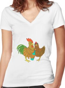 Half chicken open a wine bottle. Women's Fitted V-Neck T-Shirt