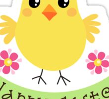 """Cute chicken with pink flowers and banner with text """"Happy Easter"""" Sticker"""