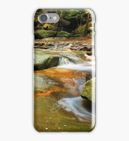 Tranquility waterfalls and moss covered rocks iPhone Case/Skin