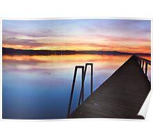 Long Jetty Central Coast sunset colours Tuggerah Lakes seascape Poster