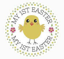 My first Easter sticker with cute chicken inside green and yellow polka dot border by MheaDesign