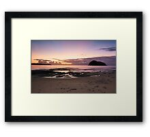 Ocean dawn sunrays and silhouettes  Framed Print