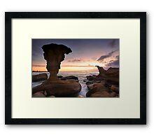 Sunrise and eroded rocks Hargraves Beach Noraville seascape Framed Print
