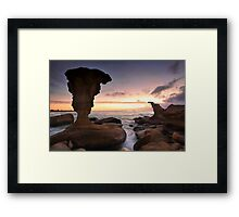 Sunrise and eroded rocks Hargraves Beach Noraville seascape Framed Print