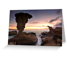 Sunrise and eroded rocks Hargraves Beach Noraville seascape Greeting Card