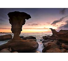 Sunrise and eroded rocks Hargraves Beach Noraville seascape Photographic Print