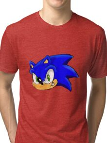 Sonic the Hedgehog. The Iconic Head Tri-blend T-Shirt