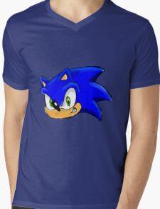 Sonic the Hedgehog. The Iconic Head Mens V-Neck T-Shirt
